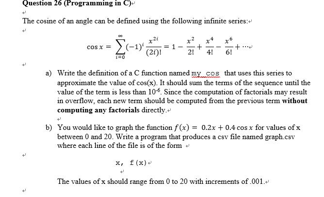 C program for cosine series using function