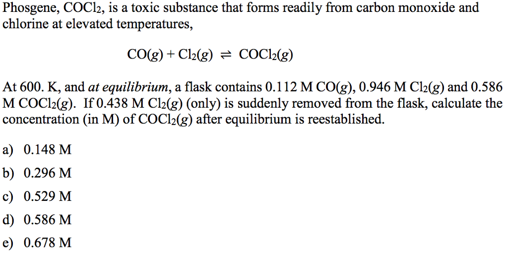 Solved: Phosgene, COCl_2, Is A Toxic Substance That Forms