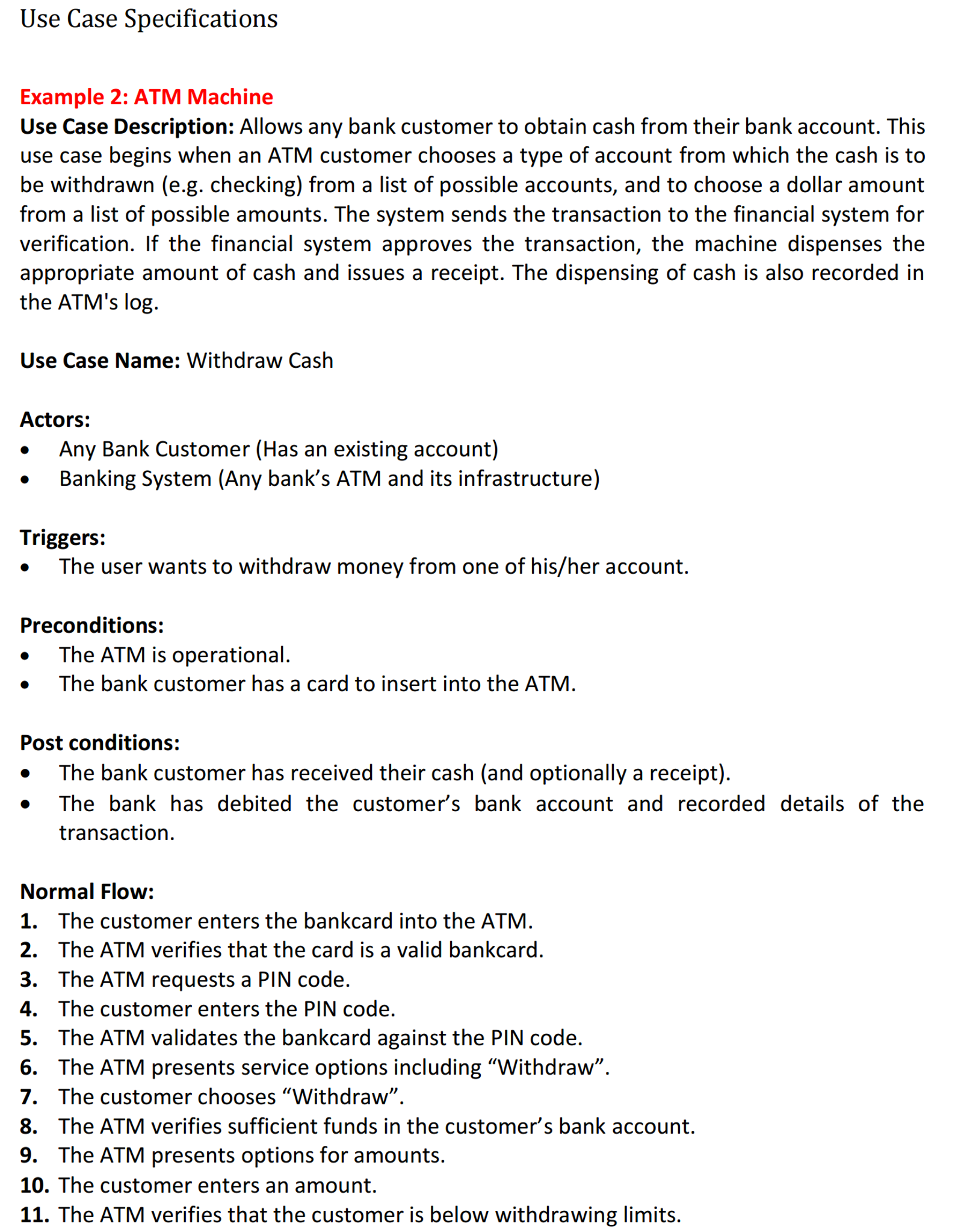 Solved: Use Case Specifications Example 2: ATM Machine Use ...