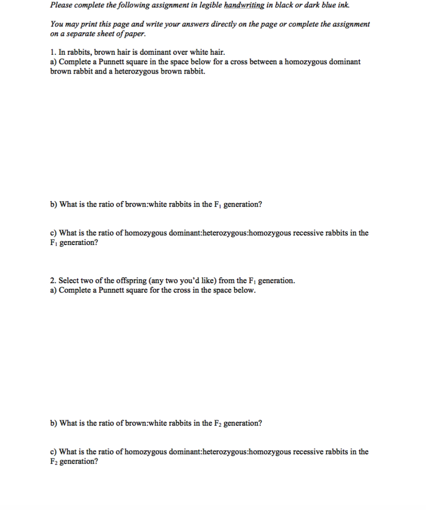 Punnett Square Worksheet With Answer Key - andrewgarfieldsource