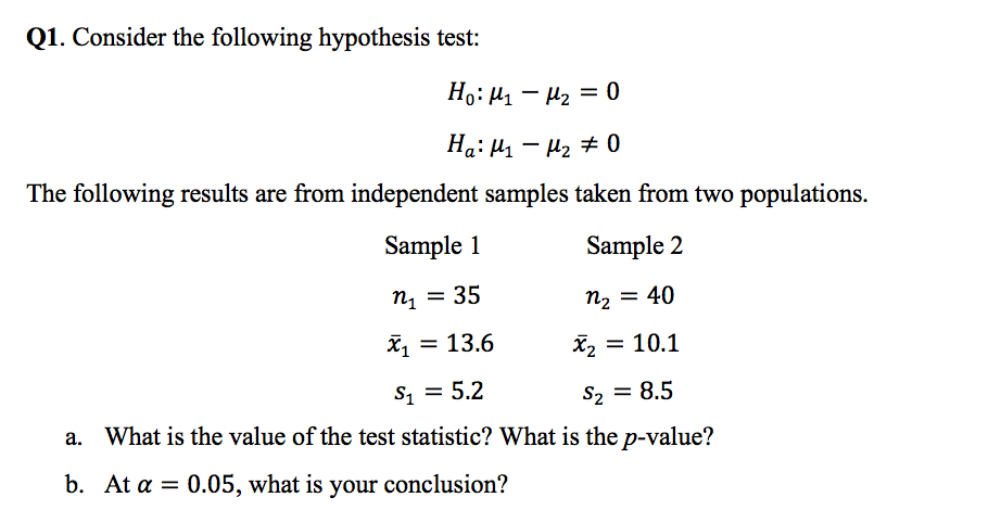 Solved: Q1  Consider The Following Hypothesis Test: The Fo