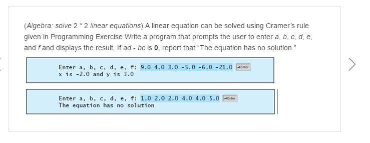A Linear Equation Can Be Solved Using Cramer's Rul