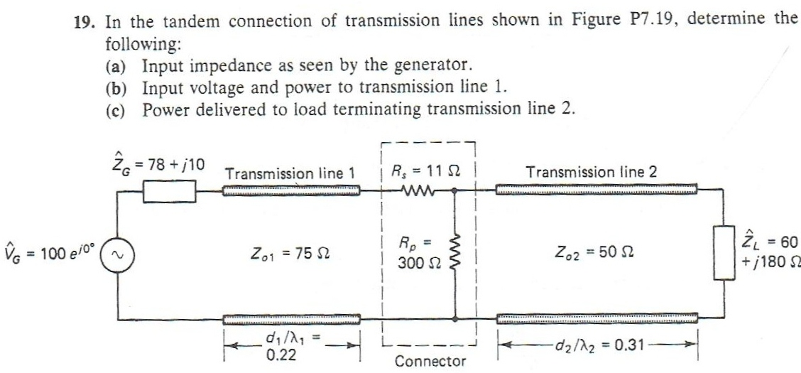 Solved: In The Tandem Connection Of Transmission Lines Sho