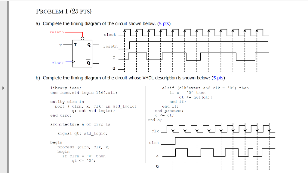 Solved complete the timing diagram of the circuit shown b problem 1 25 pts a complete the timing diagram of the circuit shown ccuart Image collections