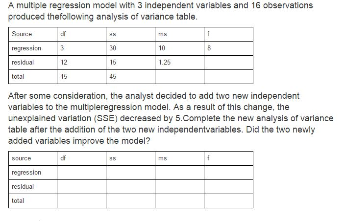 A multiple regression model with 3 independent var for Q table probability