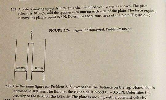 2 18 A Plate Is Moving Upwards Through A Channel Filled With Water As Shown The
