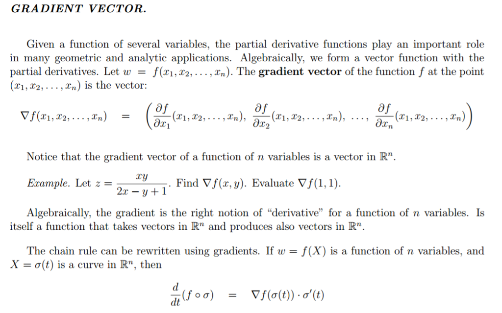 Solved Gradient Vector Given A Function Of Several Varia