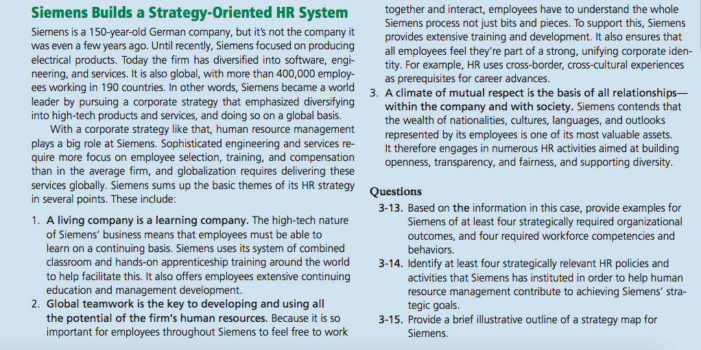 based on the information in this case provide example for siemens of the least four strategically re 1) based on the information in this case, provide examples, for siemens, of at least four strategically required organizational outcomes, and four required workforce competencies and behaviors a) high technology products and services -siemens company established more than hundred years the high.
