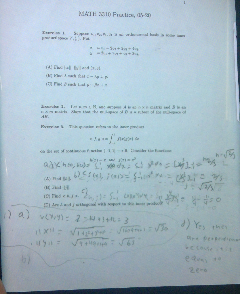 Solved: MATH 3310 Practice, 05-20 Exercise 1. Suppose V1 ...
