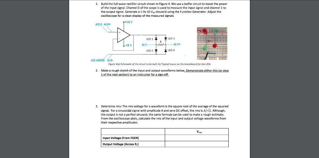 solved 1 build the full wave rectifier circuit shown in rh chegg com