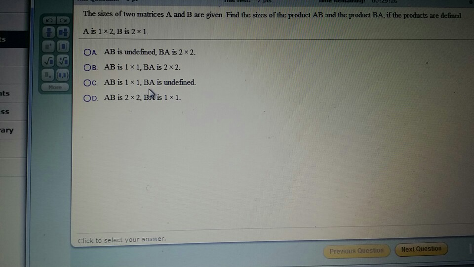 Image for The sizes of two matrices A and B are given. Find the sizes of the product AB and the product BA, if the produ