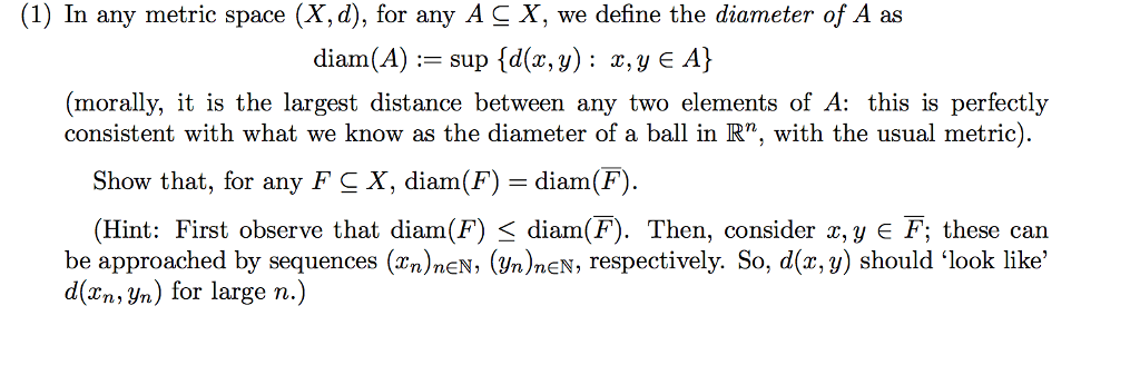 Solved 1 In Any Metric Space X D For Any Ac X We D