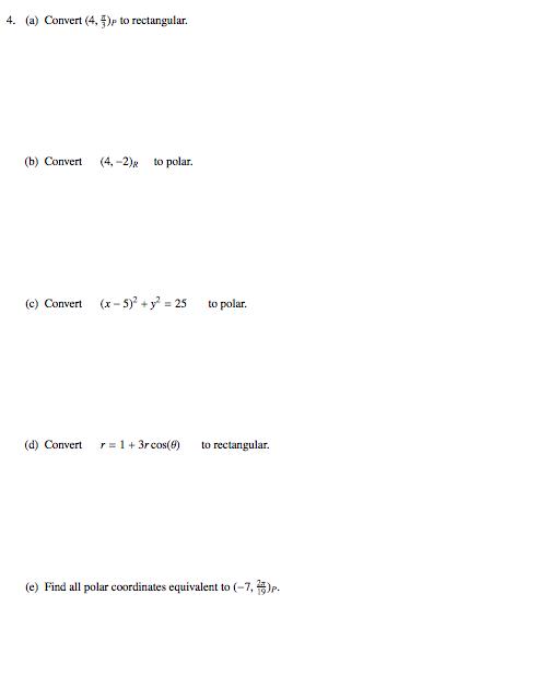 Calculus Archive April 26 2017 – Polar Coordinates Worksheet