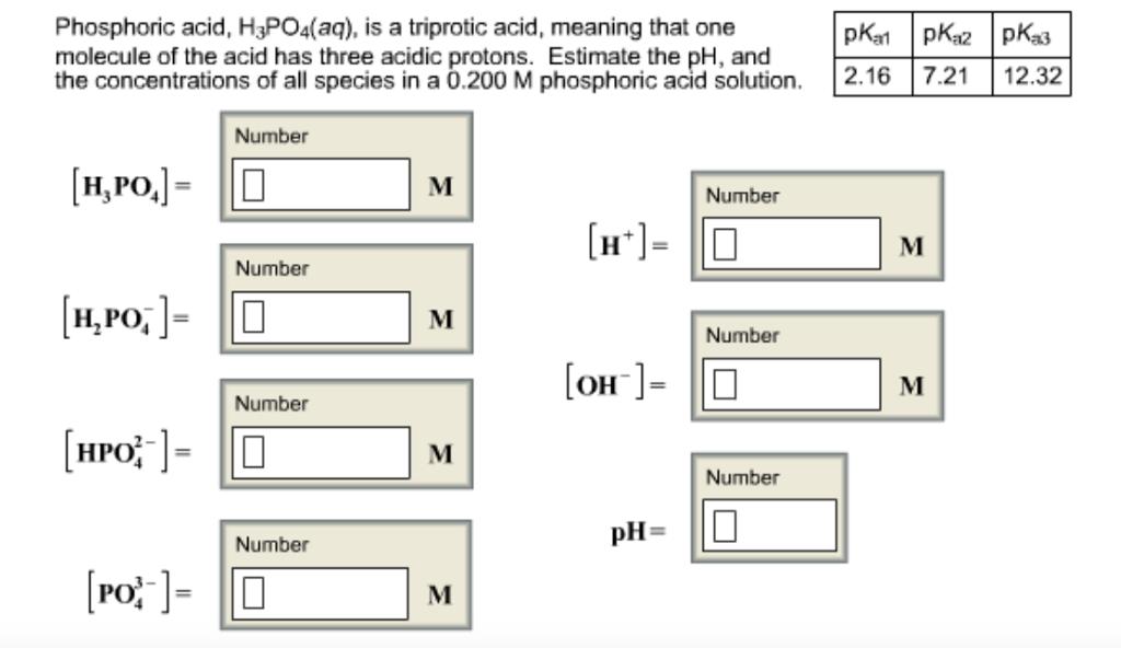 Solved Phosphoric Acid H3 Po4 Aq Is A Triprotic Aci