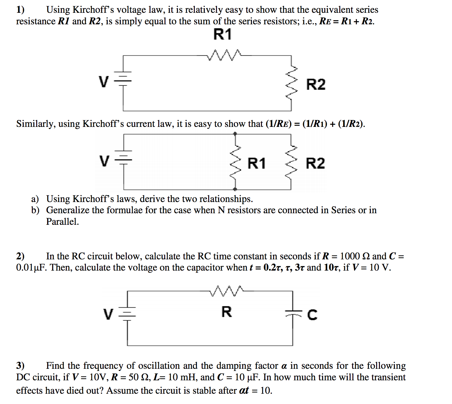 Solved Electrical Engineering Help Needed For Following Shows A Circuit With Capacitor C Connected In Series Resistor Difficulty Intro To Ee See More Show