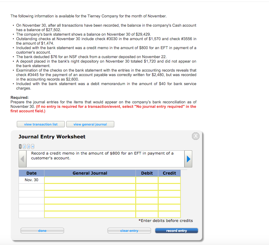 record a credit memo in the amount of 800 for an eft in payment of a customers account 2 r