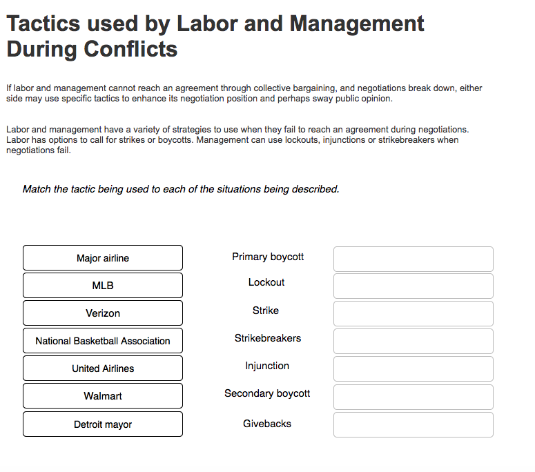 Operations management archive march 05 2018 chegg tactics used by labor and management during conflicts if labor and management cannot reach an agreement platinumwayz