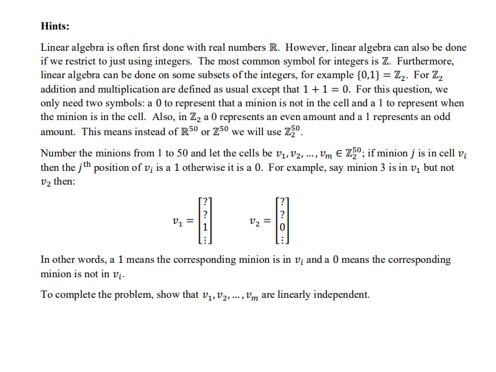 Hints Linear Algebra Is Often First Done With Rea Chegg