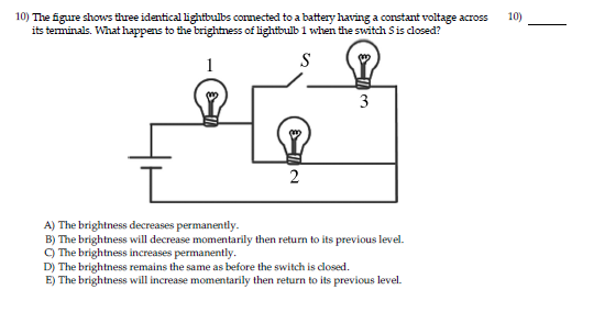 Solved 10 The Figure Shows Three Identical Lightbulbs Co