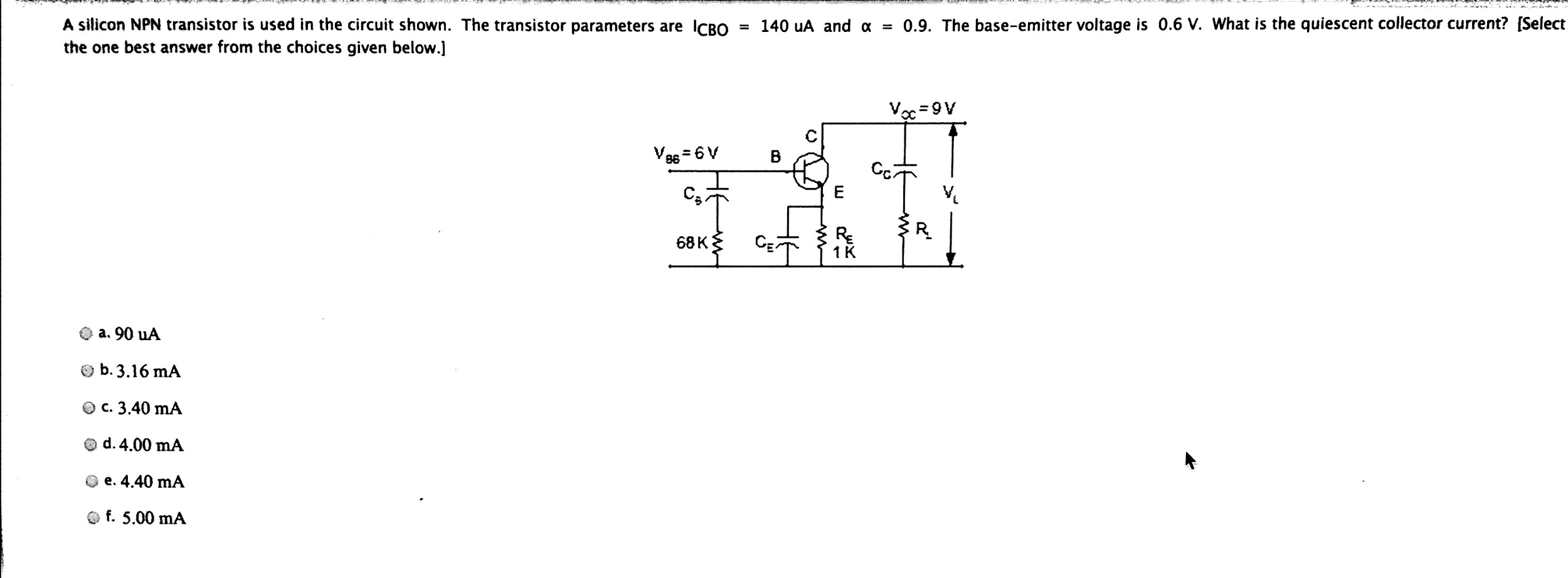 Solved A Silicon Npn Transistor Is Used In The Circuit Sh Diagram
