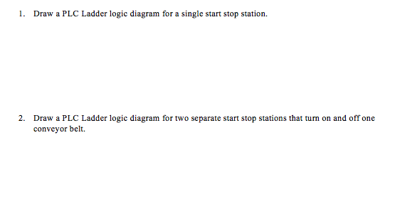 Solved Draw The Plc Ladder Logic Diagram For The Followin