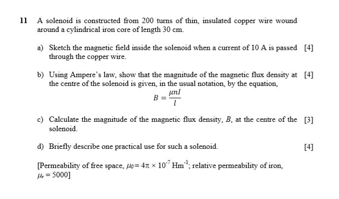 Solved: 11 A Solenoid Is Constructed From 200 Turns Of Thi ...