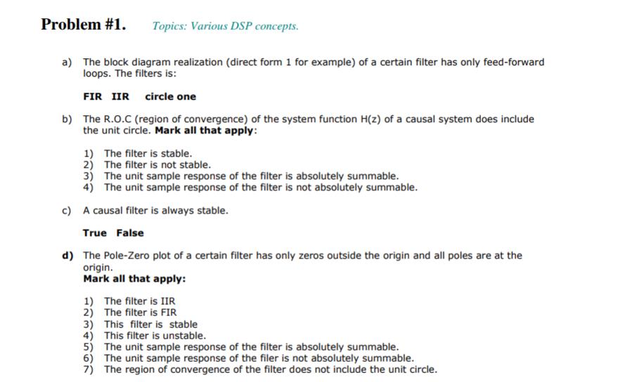 problem #1  topics: various dsp concepts a) the block diagram realization (