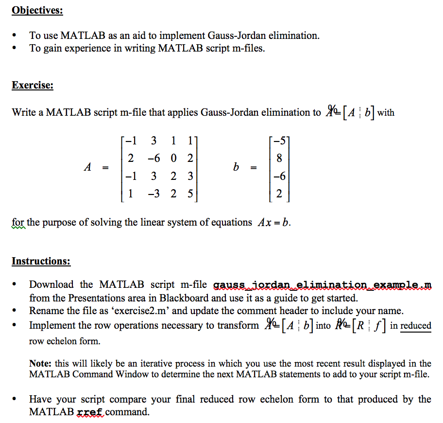Gauss Jordan Elimination In Matlab Using Provided ... | Chegg.com