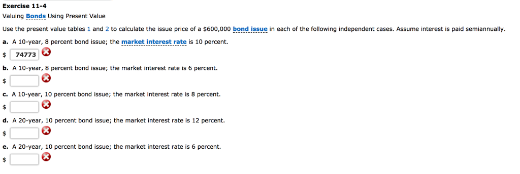 exercise 11 4 valuing bonds using present value use the present value tables 1 and