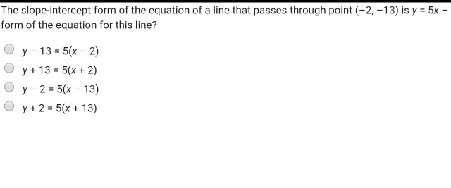 Solved The Slope Intercept Form Of The Equation Of A Line