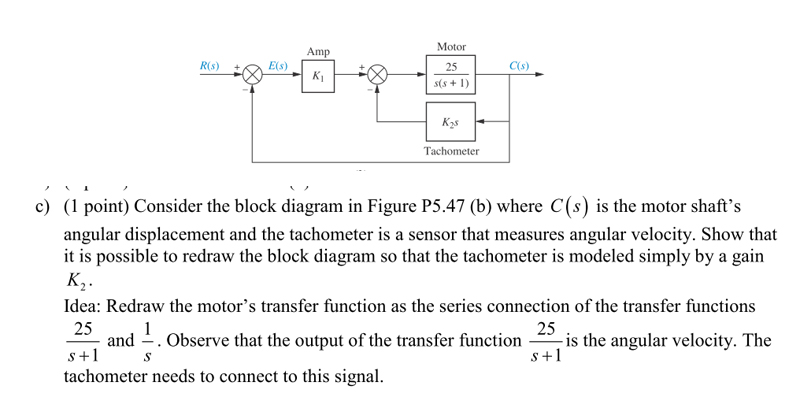Solved motor amp rs es 25 cs tachometer c question motor amp rs es 25 cs tachometer c point consider the block diagram in figure p5 ccuart Images