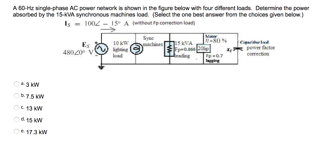 Solved: A 60-Hz Single-phase AC Power Network Is Shown In