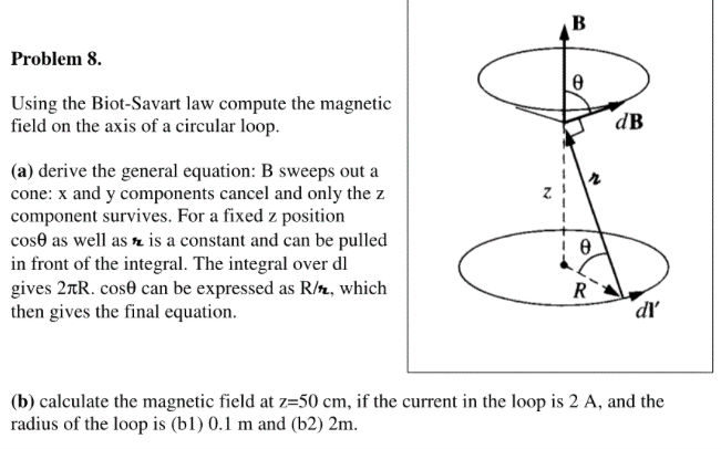 Solved: Using The Biot-Savart Law Compute The Magnetic Fie