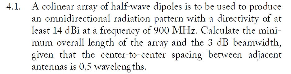 Solved: A Collinear Array Of Half-wave Dipoles Is To Be Us