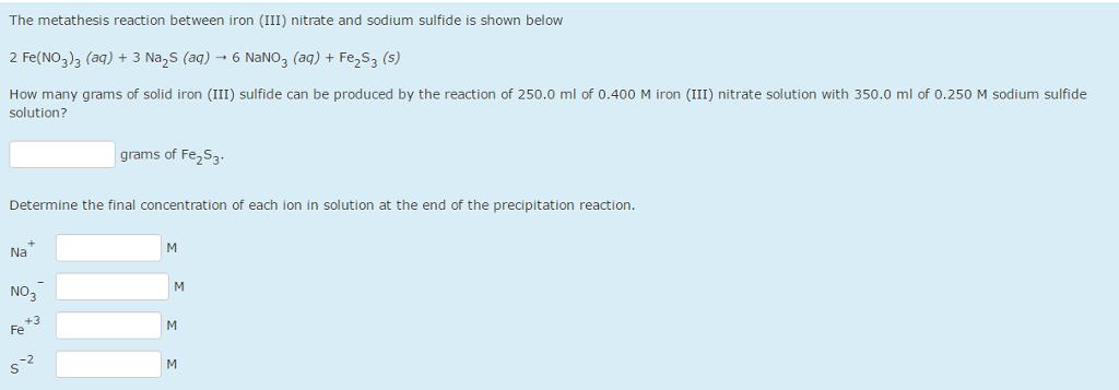 Solved: The Metathesis Reaction Between Iron (III) Nitrate