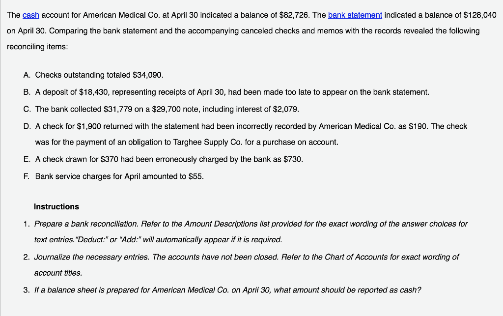 Solved: The Cash Account For American Medical Co. At April ...