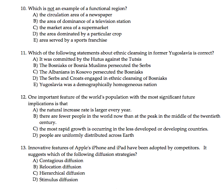 Solved 10 Which Is Not An Example Of A L Region A The
