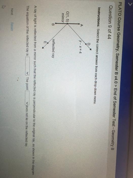 Solved plato course geometry semester b v40 end of seme plato course geometry semester b v40 end of semester test geometry b ccuart Choice Image