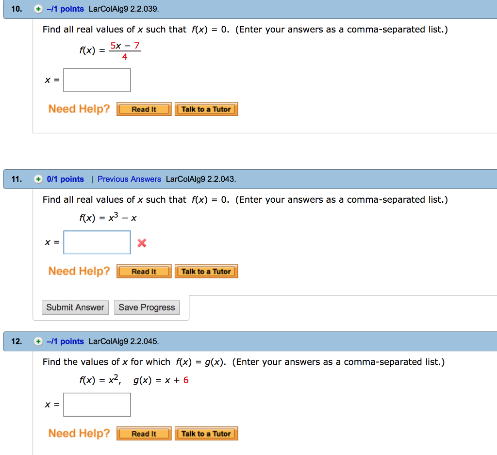 Algebra archive october 13 2017 chegg 1 answer 10 1 points larcoialg9 22039 find all real values of x fandeluxe Image collections