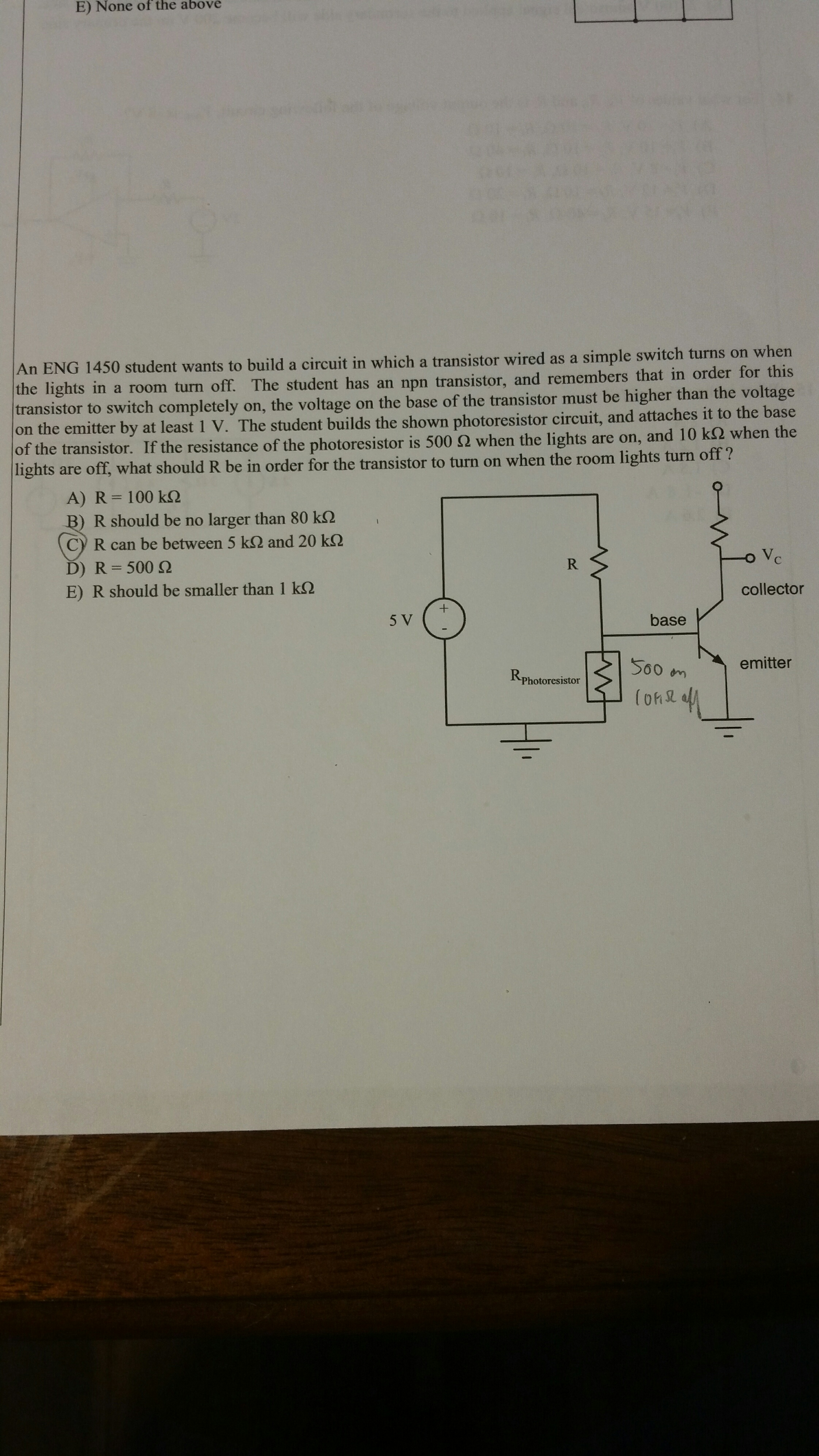 Solved: An ENG 1450 Student Wants To Build A Circuit In Wh ...