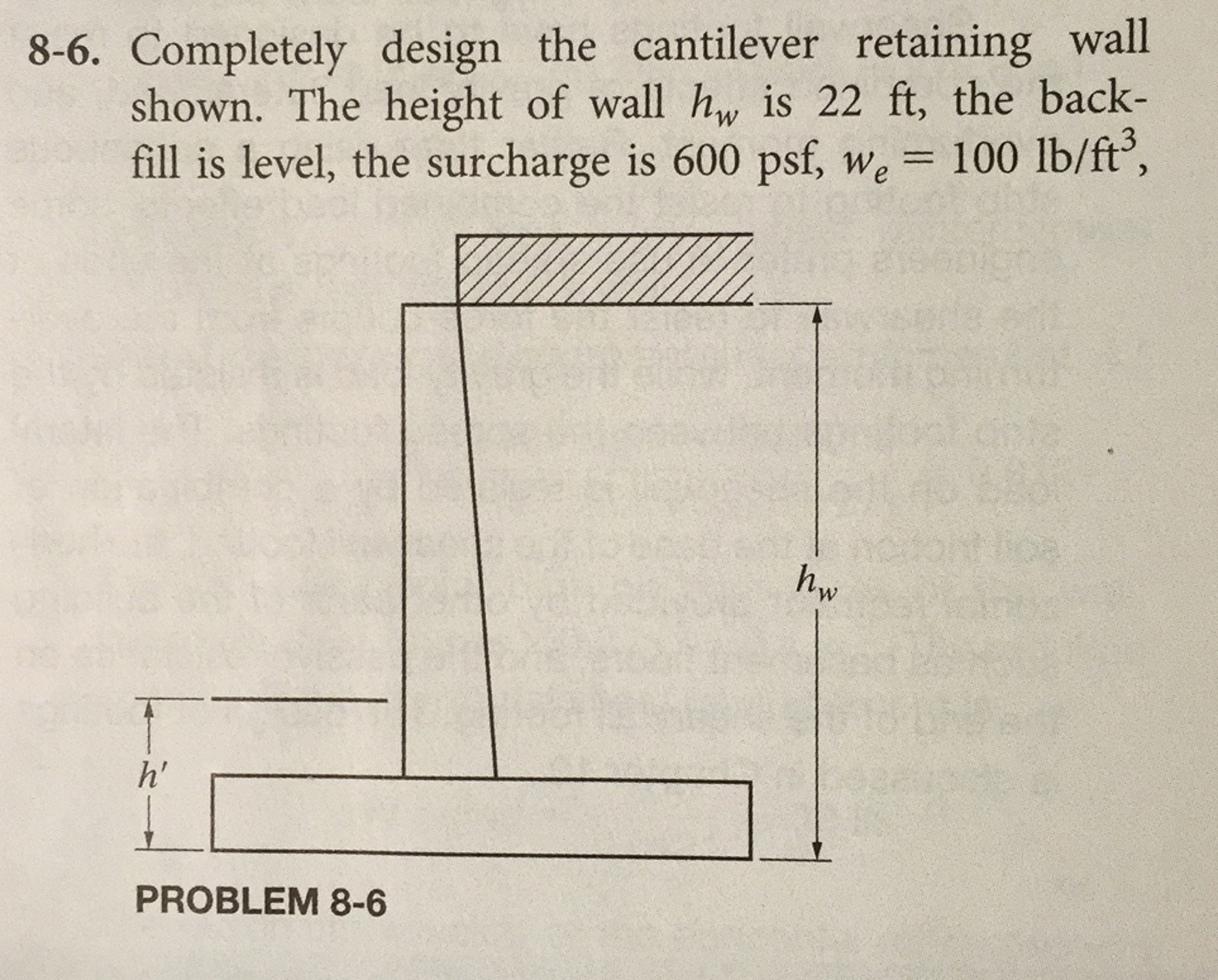 Solved: Completely Design The Cantilever Retaining Wall Sh