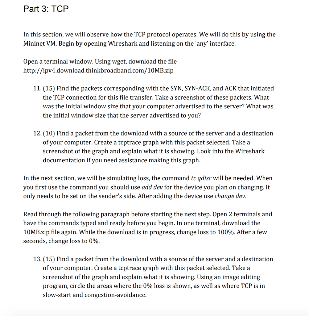 Part 3: TCP In This Section, We Will Observe How T    | Chegg com
