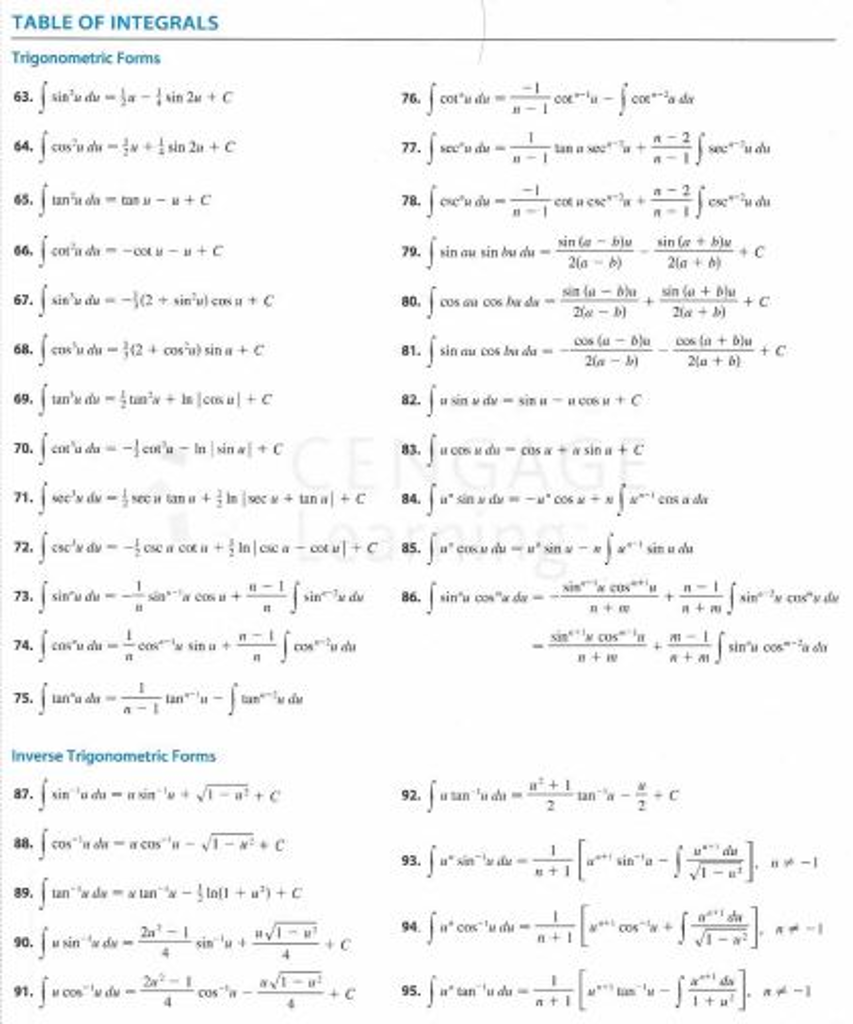 solved  use table of integrals to evaluate the integral  x