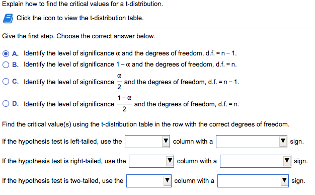explain how to find the critical values for a t di