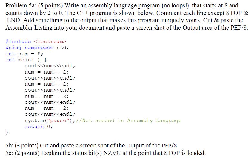 Problem 5a: (5 Points) Write An Assembly Language