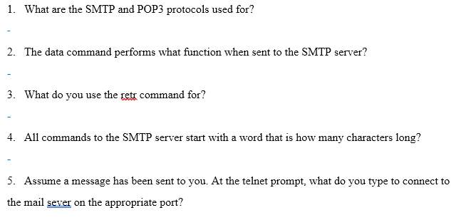 Solved: 1  What Are The SMTP And POP3 Protocols Used For