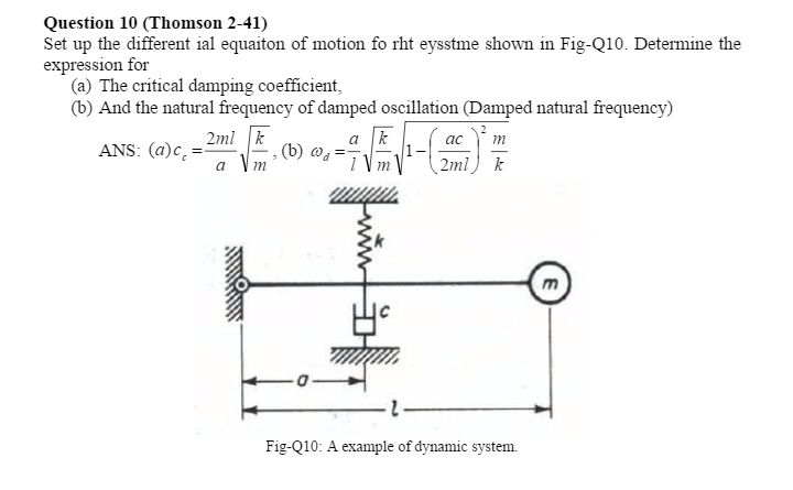 Solved: Set Up The Differential Equation Of Motion For The