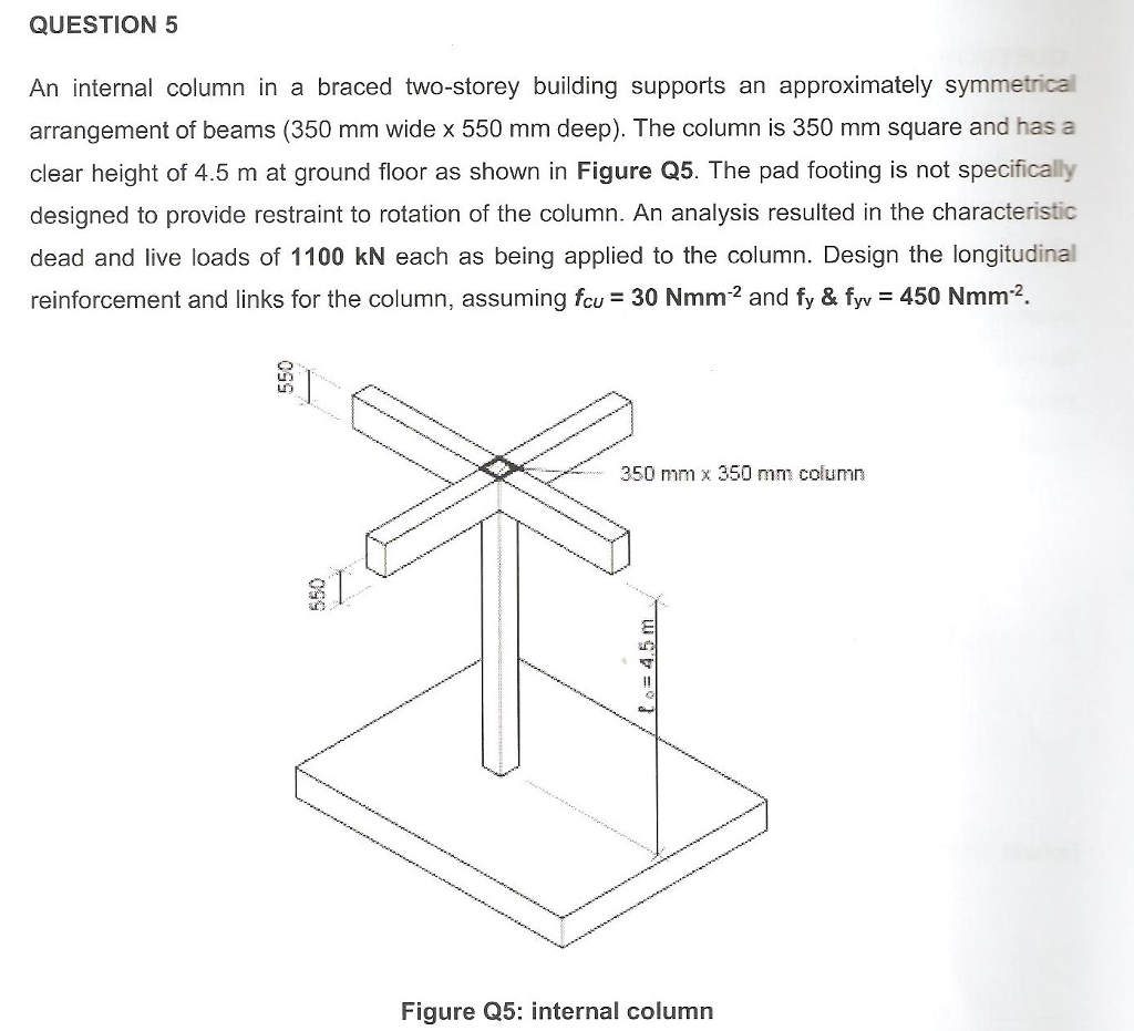 QUESTION 5 An internal column in a braced two-storey building supports an approximately symmetrical arrangement of beams (350 mm wide x 550 mm deep). The column is 350 mm square and has a clear height of 4.5 m at ground floor as shown in Figure Q5. The pad footing is not specifically designed to provide restraint to rotation of the column. An analysis resulted in the characteristic dead and live loads of 1100 kN each as being applied to the column. Design the longitudinal reinforcement and links for the column, assuming fcu 30 Nmm2 and fy & fyy 450 Nmm2. LIT 350 mm x 350 mm column ???? Figure Q5: internal column