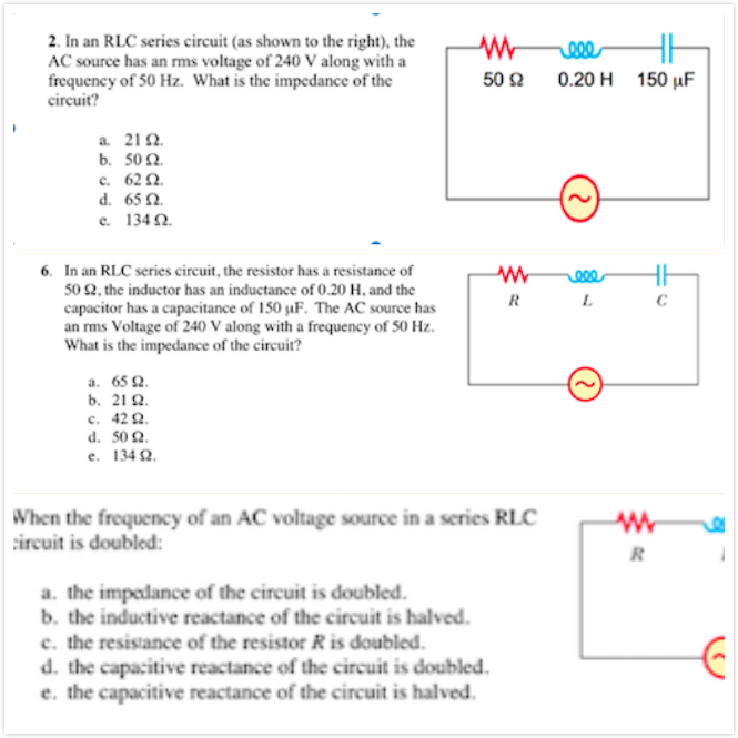 Outstanding Solved In An Rlc Series Circuit As Shown To The Right Wiring Cloud Pendufoxcilixyz
