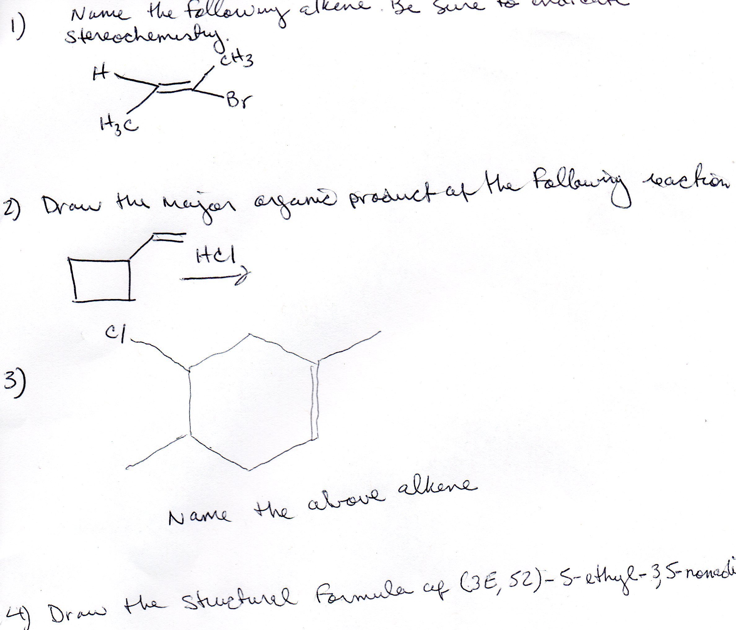 Solved: Name The Following Alkene. Be Sure Stereochemistry ...